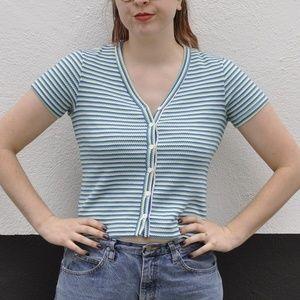 Vintage 90s blue stripe button up tee
